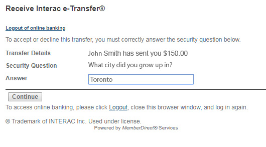 answer the security question set up by the sender